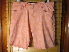 Izod Jeans Men's 38 Flat Front Regular Fit Coral Shorts Tropical Palm Fronds