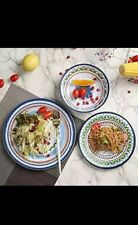 Hware 12 Pcs Melamine Dinnerware Set - Rustic Plates and bowls Set, Service for