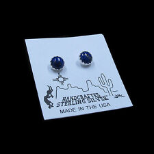 Plain Serrated .925 Sterling Silver Blue Lapis Stud 6mm Round Post Earrings