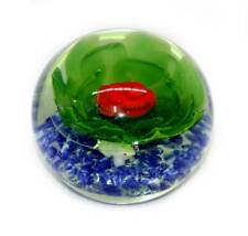 Vintage huge heavy glass red lily flower paperweight