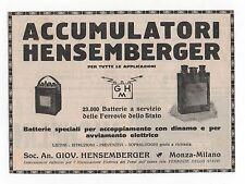 Pubblicità epoca BATTERIA HENSEMBERGER AUTO advert werbung publicitè reklame