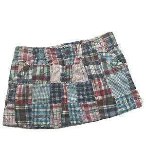 American Eagle Skirt Madras Patchwork Plaid Mini Size 4 Gingham Embroidered RWB