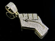 "Men's 10K Yellow Gold Real Diamonds Black Lives Matter Logo Pendant 1/2 Ct 1.4"""