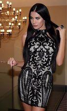 Abito Aperto ricamato Aderente Stampato Pailette Zip Ballo Party Sequin Dress S