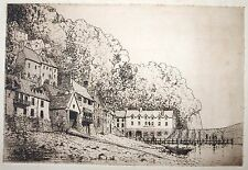 Etching attrib. to Cecil Tatton-Winter (1895-1954) Clovelly harbour. Landcsape.