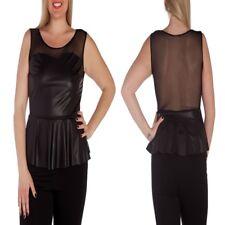 T30 Womens Black Size 16/18 Sleeveless Peplum Work Day Office Tops Blouse Plus