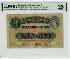 Superb Rare QEII 1954 East Africa 20 Shillings = 1 pound Nairobi in PMG 25