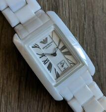 EMPORIO ARMANI Ceramica Ladies White Tank Quartz Watch - AR1409 - NEW Battery