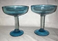 Hand Blown Mexican Glass Margarita Glasses Clear w/ Aqua Blue Bubbles Set of 2