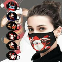 2020 Unisex Gesichtsmaske Weihnachten Santa Elk Print Winddichte waschbare Maske