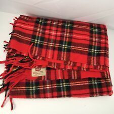 Vintage Troy Robe Wool Plaid Stadium Blanket Lap Robe/Blanket Car Throw Fringed