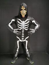 Men's Skeleton Halloween Costume inc Black Hood Skull Mask Sizes M/L & XL Adult