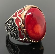 925K Sterling Silver Red Coral Men's Ring Red Enamelled K65E Special Edition