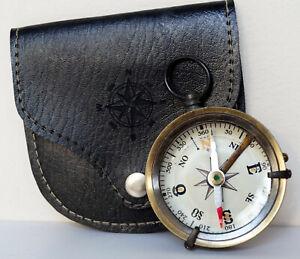 Antique Brass Vintage Navigation Camping Pocket Compass With Black Leather Case
