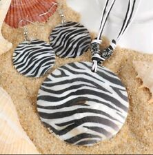 Animal Print Striped Shell Pendant Necklace Earring Set Rope Chain Black White