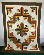 "Log Cabin Purple 90/"" x 36/"" Cheater Quilt Top Print 1353"