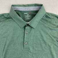 Swiss Tech Polo Shirt Mens 2XL Green Short Sleeve Cotton Stretch Casual Polo