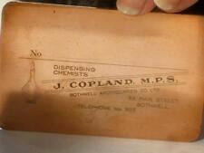 Antique J Copland Chemist Bothwell Scotland Copper Bottle Label Print Plate #101