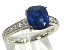 Blue Sapphire Ring 18K White Gold Pave Solitaire Certified Heirloom 3.06ct $6,75