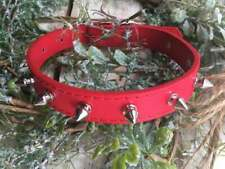 Spiked Dog Collar Metal Rivet Faux Leather Necklace Medium Red, Super Cute!