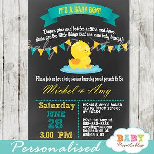Rubber Duck Baby Shower Invitation for Boys - Printable Digital File