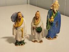 Three Figurines China Mud Men Man Crazing Anqitue Vintage Hand Painted