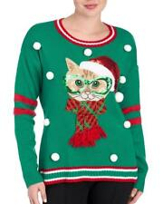 United States Sweaters Christmas Cat Sweater Green SIZE: S