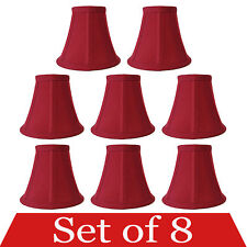 """Set of 8 Clip On 5"""" Small Bell Candelabra Shades for Chandelier (Red)"""