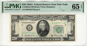 1950 A $20 FEDERAL RESERVE NOTE NEW YORK FR.2060-B BB BLOCK PMG GEM UNC 65 EPQ