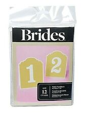Brides Gartner 76073 Table Numbers 1-12 Wedding Seating Placement Cards Deco Tan