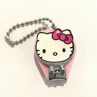 Vintage Hello Kitty Sanrio Nail Clippers File Keychain Round PInk