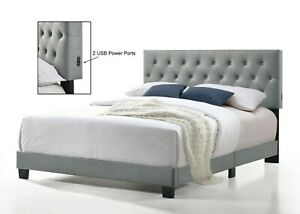 Royale Tufted Bed with USB Power Connection
