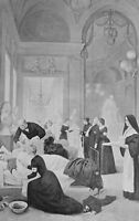 HOSPITAL in French Theater Nuns Soldiers War  - Victorian Era Antique Print