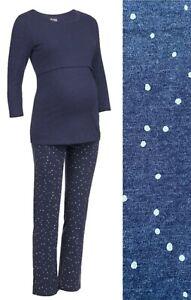 MOTHERCARE Nursing Maternity Pyjamas Blue Cotton Polkadot Long Nightwear Pjs NEW