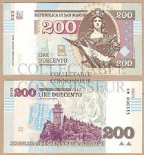 San Marino 200 Lire 2016 UNC SPECIMEN Test Note Private Issue Banknote