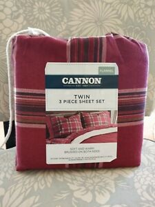 TWIN BRUSHED FLANNEL SHEET SET CANNON 100% COTTON COUNTRY RED PLAID 3PCS SET NEW