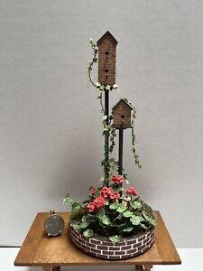 Vintage Artisan EK Bird House Display Flowers Bricks Dollhouse Miniature 1:12