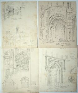 Raymond Turner Barker (1872-1945) Architect. 4 x drawings Canterbury Cathedral