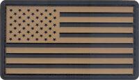 Khaki & Black PVC US Flag Patch Military American Flag Patch