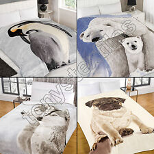 Polyester Animal Print Machine Washable Bed Blankets