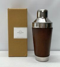 NEW IN BOX Pottery Barn Saddle Leather Cocktail Shaker~No Monogram