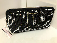 NEW! VICTORIA'S SECRET VS BLACK STUDDED COSMETIC MAKEUP TRAVEL POUCH BEAUTY BAG