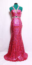 PRECIOUS FORMALS FUCHSIA PINK MIRROR GEMS SEQUINS PROM FORMAL GOWN DRESS 0