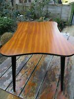 Fab Unusual Shape Kitsch Vintage Teak Veneer Coffee Side Table Black Atomic Legs