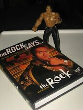 THE ROCK SAYS 1st EDITION HARDCOVER BOOK DUST JACKET W/ JAKS ROCK WWF WWE TOY