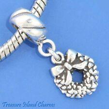 CHRISTMAS WREATH .925 Sterling Silver EUROPEAN EURO Dangle Bead Charm