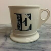 Anthropologie Monogram Letter E Alphabet White Black Shaving Style Mug Cup