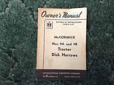 1005828R2 - is a New Original Operators Manual for an IH No. 9-A Disk Harrow
