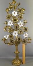 """ANTIQUE VICTORIAN ORNATE BRONZE WHITE OPALINE-FLOWERS BANQUET CANDELABRA 32 3/4"""""""