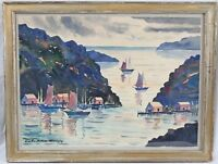Guy De Bouthillier-Chavigny Watercolor Harbor Boats Listed French Amer. Vintage